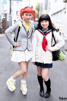Orange Twin Tails, Sailor Fuku & Lego Man Earrings in Harajuku Kawaii Harajuku Street Fashion – Tokyo Fashion News