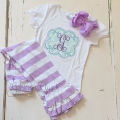 Monogrammed shirt for baby toddler little girl. by GentrysCloset