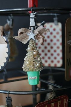 A close up of one of the tags on a DIY Christmas Advent Calendar ~ ♥ ~ They used vintage pearls on this advent piece ~