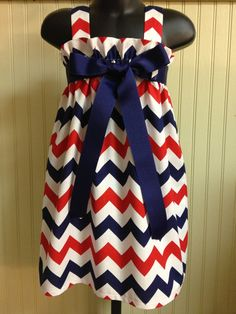 Patriotic Dress.. Red, White and Blue Chevron Dress with choice of Ribbon color .. July 4th Dress on Etsy, $28.00