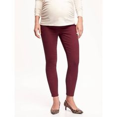 Old Navy Side Panel Skinny Rockstar Jeans Maternity ($20) ❤ liked on Polyvore featuring maternity and a plum job