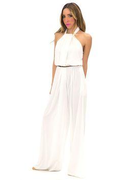 VERNIN HALTER ROMPER WITH BELT - Off White | Shop this at www.hauteandrebellious.com