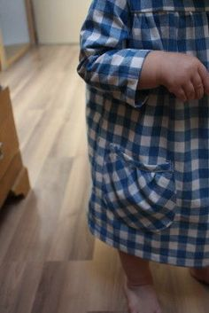 gingham dress with pocket cut on bias.