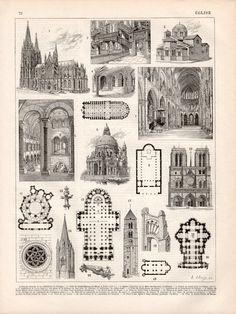 1897, arquitectura de la iglesia, grabado antiguo, Vintage litografía Ilustración, Catedral de Colonia, Notre Dame de París, Orleans, Laon, Chartres Roma