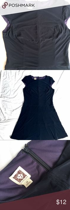Navy Cap Sleeved A Line Classy & Simple Dress. Very simple yet flattering. Center Seam and Darts in front and back, horizontal paneled A-line skirt. Fabric is a soft, stretchy polyester. Top is lined. Back zipper. Cute little cap sleeves. Color is dark navy. Some minimal wear but no obvious flaws. Great for work or for play! Anne Klein Dresses