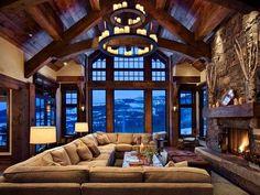 Big, coze sofa...love all the warn wood too! #home #decor #wood