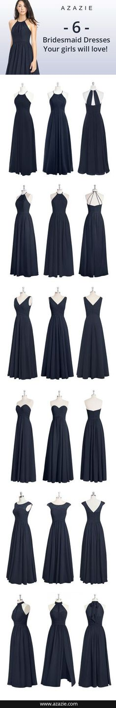6 Navy Blue bridesmaid dresses your girls will love, floor-length, chiffon formal dresses