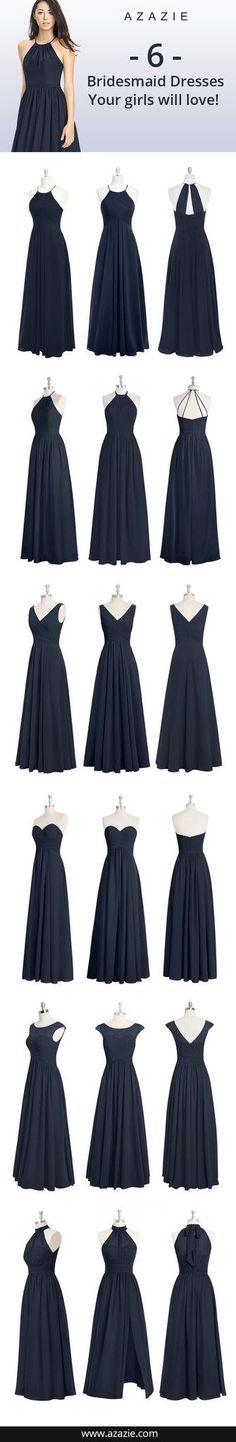 6 Navy Blue bridesmaid dresses your girls will love, floor-length, chiffon formal dresses