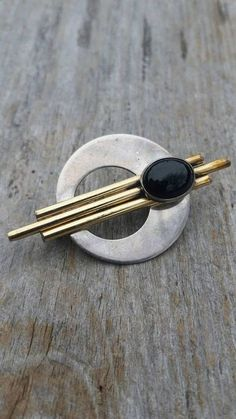 PTP Sterling Silver Onyx and Gold Fill Art Deco Brooch