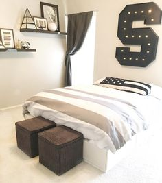 Boy bedroom ideas. Boy bedroom. Tween boy bedroom. Teen boy bedroom. Modern boy bedroom. Black and white bedroom