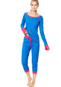 Details about  /Women Casual Round Neck Long Sleeve Striped Thermal Pajama Set ED