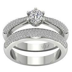 White Gold Over Ct Round Cut Diamond Wedding Bridal Engagement Ring Set Cheap Wedding Rings, Wedding Band, Wedding Jewelry, Engagement Ring Settings, Engagement Rings, Jewelry Rings, Fine Jewelry, Diamond Jewelry, Beautiful Diamond Rings