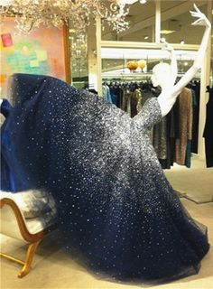 Ball Gown Prom Dress,Strapless Party Dress,Floor Length Prom Dress,Navy Blue Evening Dress with Beading,Beading Prom Dress