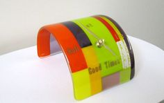 Let the Good Times Roll Fused Glass Clock by JanuaryMayDesigns