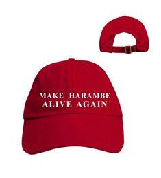 92e92c786e7 Make Harambe Alive Again Funny Parody Trump Hat 2016 Harambe Gorilla  Election Cap Red W Wht Thread CX12N0BEFVP. Red HatsMen s ...
