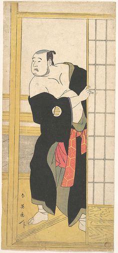 Asao Tamesaburo as a Stout Man with a Green Kimono  Katsukawa Shun'ei  (Japanese, 1762–1819)  Period: Edo period (1615–1868) Date: ca. 1795 Culture: Japan Medium: Polychrome woodblock print; ink and color on paper