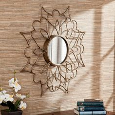 Southern Enterprises Evelyn Wall Mirror, Rubbed Bronze (to be painted in white)