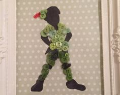 Disney inspired princess silhouette. Button by BowsAndButtonsUK