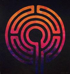 Labyrinth I by Barbara Shapel Contemporary Fiber Artist. Textile Fabrics, Textile Art, Maze Design, Reverse Applique, Labyrinths, Applique Ideas, Contemporary Quilts, Quilt Art, Happy Art