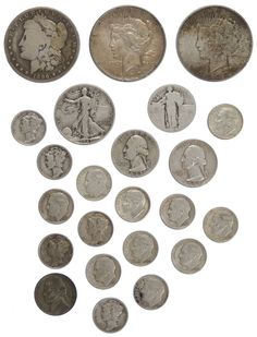 Lot 46: US Coin Assortment; $5.75 face value US 90% silver, $0.05 face value US 35% silver; 1844 large 1c, an 1899 Indian Head 1c, (11) Lincoln 1c, (5) Liberty 5c, (3) Buffalo 5c; together with (103) German Spiel Marke tokens