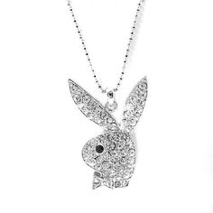 Silver plated playboy necklace with large pave crystal playboy bunny high gloss finish silver plated playboy bunny charm and chain by spinningdaisy 1399 fun looking playboy bunny charm and chain is perfect accessory to aloadofball Image collections