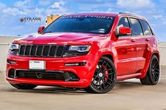 Red Jeep Grand Cherokee on Gloss Black Strasse Wheels Featuring Red Calipers Jeep Srt8, Jeep Grand Cherokee Srt, Shelby Car, 2016 Jeep, Mustang Cars, Ford Mustangs, Chrysler Jeep, Car Wheels, Cadillac Escalade