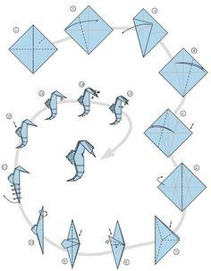 Origami hippocampe 5 – How to make Origami Design, Instruções Origami, Origami Star Box, Origami Ball, Origami And Kirigami, Origami Dragon, Origami Fish, Useful Origami, Paper Crafts Origami