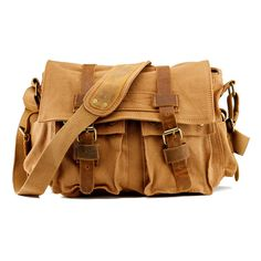 In slate, please.Gearonic Men's Vintage Canvas and Leather School Military Shoulder Bag