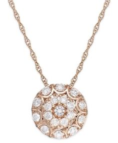 Wrapped in Love™ Diamond Disc Pendant Necklace in 14k Rose Gold (1/2 ct. t.w.)