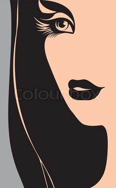 Stock vector of 'silhouette, hair, woman'
