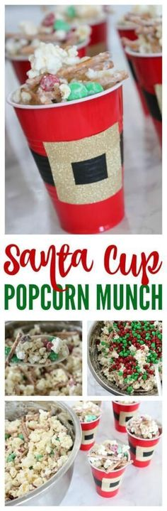 Santa Cups Popcorn Munch! Easy Holiday Snack Recipe for Kids & Adults!