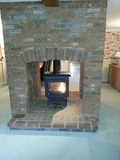 double sided brick fireplace - Google Search