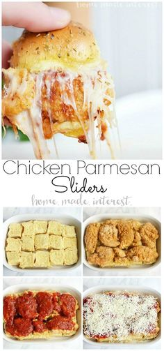 These Chicken Parmesan sliders are an easy recipe that everyone is going to love. Fried chicken tenders, tomato sauce, and lots of mozzarella cheese make this slider recipe perfect football party food. Whether it is a March Madness or the Super Bowl Chicken Parmesan sliders are the ultimate party food! #gamedayfood #gameday #chicken #sliders #homemadeinterest #appetizer #partyfood via @hmiblog