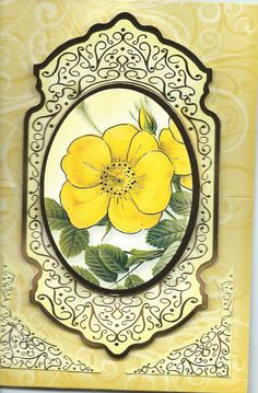 "3D yellow rose Easel card ""Best Wishes"""