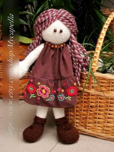 Crocheted doll toy , Crochet doll people, Amigurumi doll, Crochet people toy