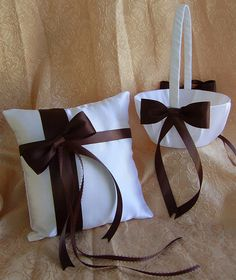 Chocolate Brown Wedding Flower Girl Basket and Ring Bearer Pillow Set by Luly's Wedding Accessories, via Flickr