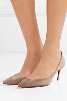 Heel measures approximately 70mm/ 3 inches Taupe suede Slip on Designer color: Cappuccino Made in Italy
