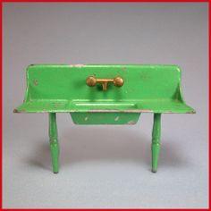 "Tootsie Toy Dollhouse Kitchen Sink – Green 1930s 1/2"" Scale"