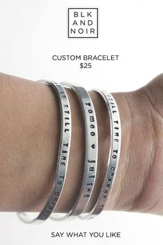 BLK AND NOIR JEWELRY - Personalized Bangle Bracelet, $25.00 (http://www.blkandnoir.com/personalized-bangle-bracelet/)
