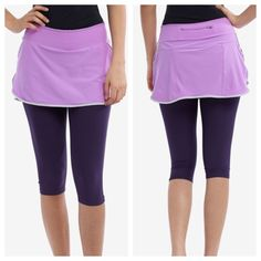 "Nike Dri fit capri leggings with skort Looks like they have never been worn.  Inseam is 16"" long.                                                j Nike Pants Capris"