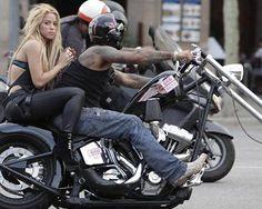 Shakira on the back of a Harley-Davidson in Barcelona, Spain (2010)