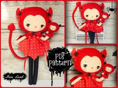 PDF. Devil girl with puppet.Plush Doll Pattern Softie by Noialand