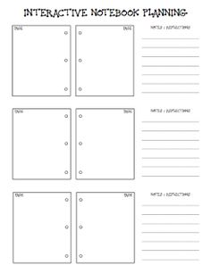 Here's a page for planning interactive notebook entries.