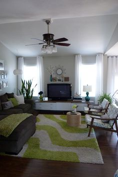 teal and lime living room