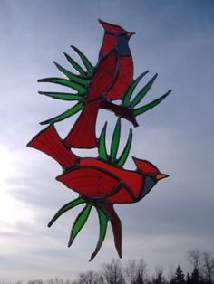 cardinals/pine needles stained glass by UpNorthSuncatchers on Etsy, $48.00