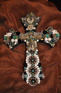 45.00 Handmade Wooden Jeweled Cross. Shopjaykay on www.etsy.com