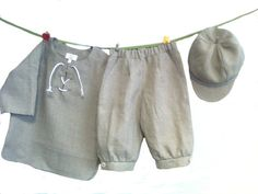 Boys linen suit natural grey toddler linen costume light by EcoEmi
