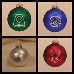 Avatar The Last Airbender - Legend of Korra Laser Engraved Christmas Ornaments - Set of 4