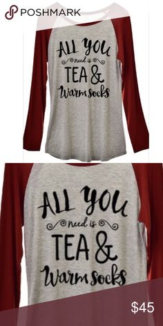 Baseball tee maroon gray tea warm socks long sleev Super soft jersey knit tee with maroon arms & gray body. Perfect with jeans or leggings! Celebrate this cozy season in style! wear in la Tops Tees - Long Sleeve