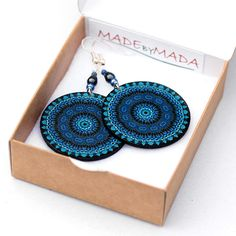 Denim color Earrings Round - Shades of blue